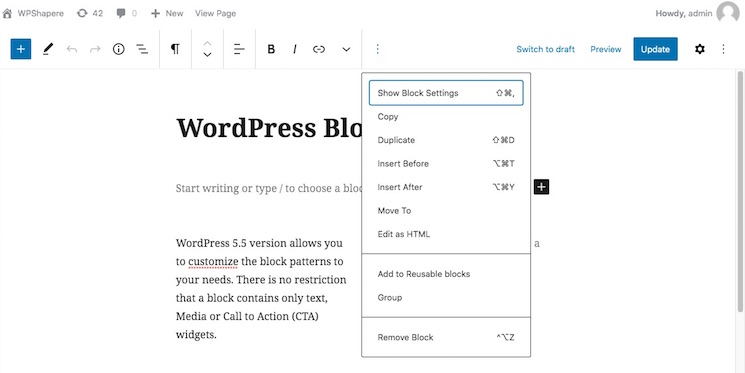 WordPress new block editor UI
