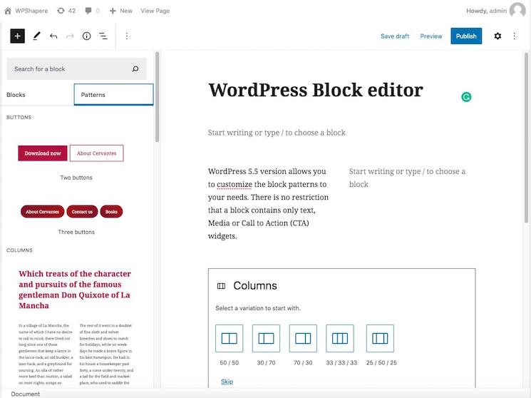 WordPress block editor pattern