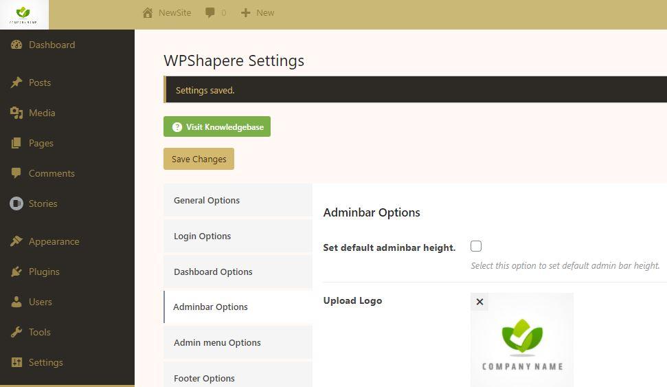Custom Logo using WPShapere