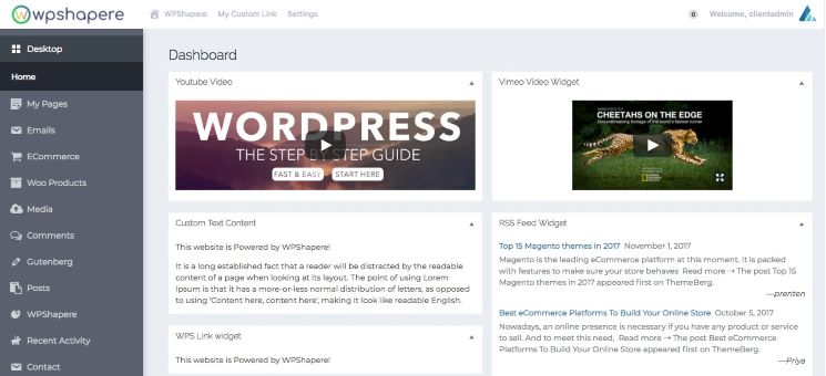 WPShapere Lite WordPress admin theme released on WordPress.org