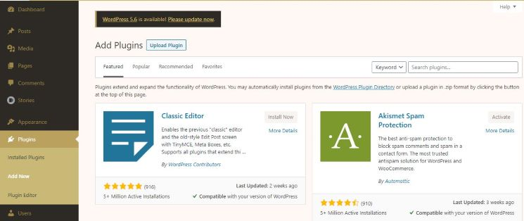 WordPress classic editor